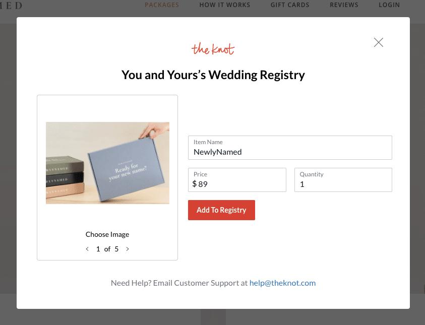 NewlyNamed Wedding Registry